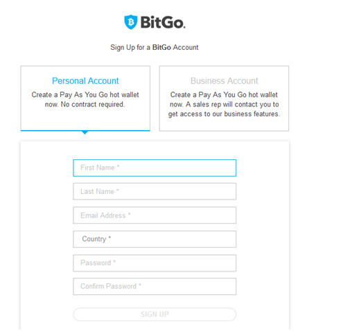 Registration Bitgo