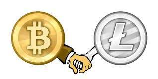 An illustration of Bitcoin and Litecoin.